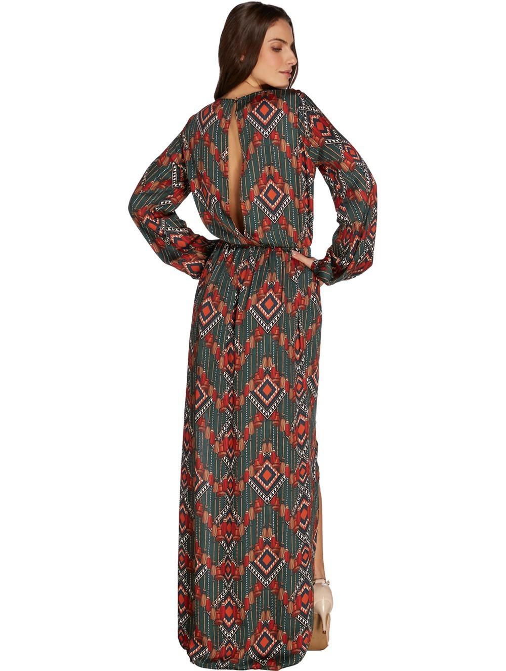 16593d919ac0e Robe longue aux imprimés éthniques